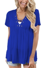 Women Deep V Lace Up Tunic Pleated Plain T-Shirt Light Sapphire Blue