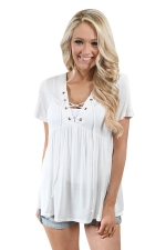 Women Deep V Lace Up Tunic Pleated Plain T-Shirt Light White