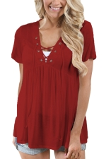 Women Deep V Lace Up Tunic Pleated Plain T-Shirt Light Ruby