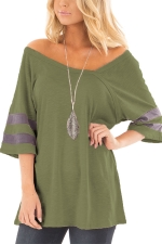 Women Sexy V Neck Half Sleeve Loose T-Shirt Army Green