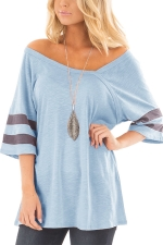 Women Sexy V Neck Half Sleeve Loose T-Shirt Light Blue