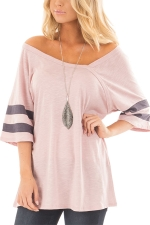 Women Sexy V Neck Half Sleeve Loose T-Shirt Pink
