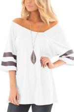 Women Sexy V Neck Half Sleeve Loose T-Shirt White