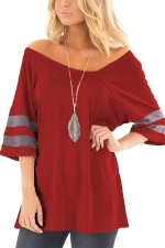Women Sexy V Neck Half Sleeve Loose T-Shirt Ruby