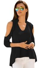 Women V Neck Cold Shoulder Ruffle T-Shirt Black