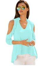 Women V Neck Cold Shoulder Ruffle T-Shirt Light Green