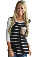 Women Black Stripe Sequin Pocket Long Sleeve T-Shirt Black
