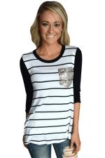 Women Black Stripe Sequin Pocket Long Sleeve T-Shirt White