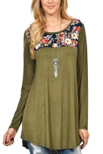 Women Crew Neck Floral Printed Patchwork Long Sleeve T-Shirt Army Green