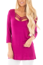 U Neck Strings Long Sleeve Plain T-Shirt Rose Red