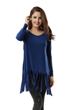 Women Plain Fringe Hem Long Sleeve Loose T-Shirt Blue