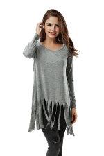 Women Plain Fringe Hem Long Sleeve Loose T-Shirt Light Gray
