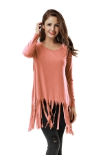 Women Plain Fringe Hem Long Sleeve Loose T-Shirt Orange Red