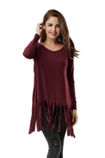 Women Plain Fringe Hem Long Sleeve Loose T-Shirt Ruby