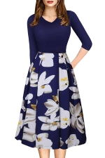 Sexy 3/4 Sleeve Flower Print Knee Length Midi Dresses Blue