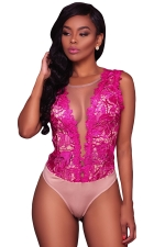 Sexy Deep V Sheer Lace Sleeveless Bodysuit Rose Red