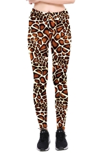 Leopard Printed High Waist Sports Wear Leggings Brown