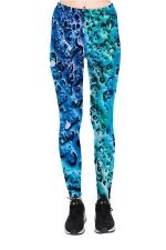 Sea Stone Printed High Waist Sports Wear Leggings Turquoise