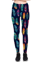 Colorful Feather Printed High Waist Sports Wear Leggings Green