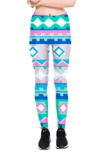 Geometric Printed High Waist Sports Wear Leggings Light Blue