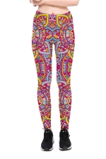 Geometric Printed High Waist Sports Wear Leggings Red