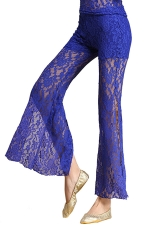 Women Lace See Though Side Split Belly Dance Pants Blue