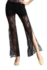 Women Lace See Though Side Split Belly Dance Pants Black
