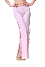 Women Sexy Side Split Lace Up Belly Dance Pants Pink