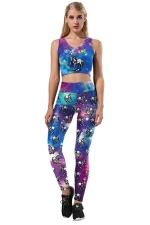Halloween Unicorn Printed Crop Top&Skinny Leggings Sports Suit Blue