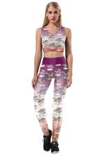 Halloween Unicorn Printed Crop Top&Skinny Leggings Sports Suit Purple