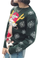 Snowflake&Reindeer Printed Crew Neck Christmas Sweater Army Green