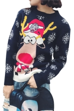 Snowflake&Reindeer Printed Crew Neck Christmas Sweater Navy Blue