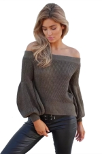 Sexy Off Shoulder Puff Sleeve Plain Sweater Army Green