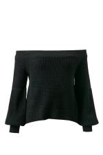 Sexy Off Shoulder Puff Sleeve Plain Sweater Black