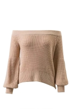 Sexy Off Shoulder Puff Sleeve Plain Sweater Khaki