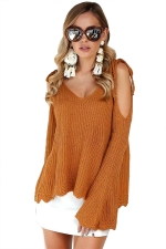 Sexy Tie Shoulder V Neck Cold Shoulder Flare Hem Sweater Ginger