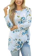 Women Floral Printed Crew Neck Long Sleeve T-Shirt Light Blue