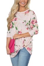 Women Floral Printed Crew Neck Long Sleeve T-Shirt Pink