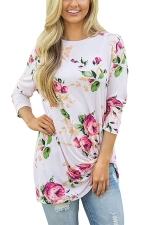 Women Floral Printed Crew Neck Long Sleeve T-Shirt White