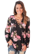 Plus Size Floral Printed V Neck Lace Up Long Sleeve T-Shirt Black