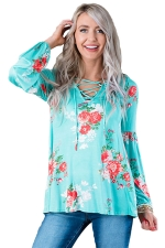 Plus Size Floral Printed V Neck Lace Up Long Sleeve T-Shirt Turquoise