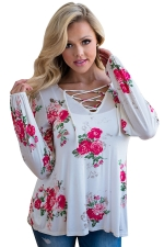 Plus Size Floral Printed V Neck Lace Up Long Sleeve T-Shirt White