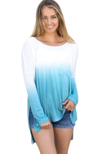 Women Crew Neck Long Sleeve Side Split Gradient T-Shirt Blue