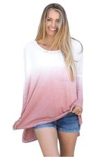Women Crew Neck Long Sleeve Side Split Gradient T-Shirt Brown