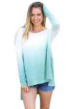 Women Crew Neck Long Sleeve Side Split Gradient T-Shirt Green
