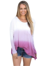 Women Crew Neck Long Sleeve Side Split Gradient T-Shirt Purple