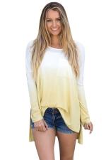 Women Crew Neck Long Sleeve Side Split Gradient T-Shirt Yellow