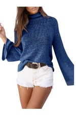 High Collar Flare Sleeve Open Back Lace Up Knit Top Blue