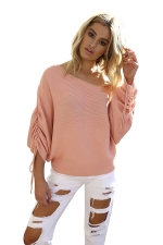 Sexy One Shoulder Pleated Draw String Sleeve Loose Top Pink