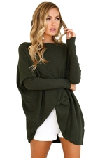 Women Crew Neck Tight Sleeve Plain Sleeve Shirt Army Green